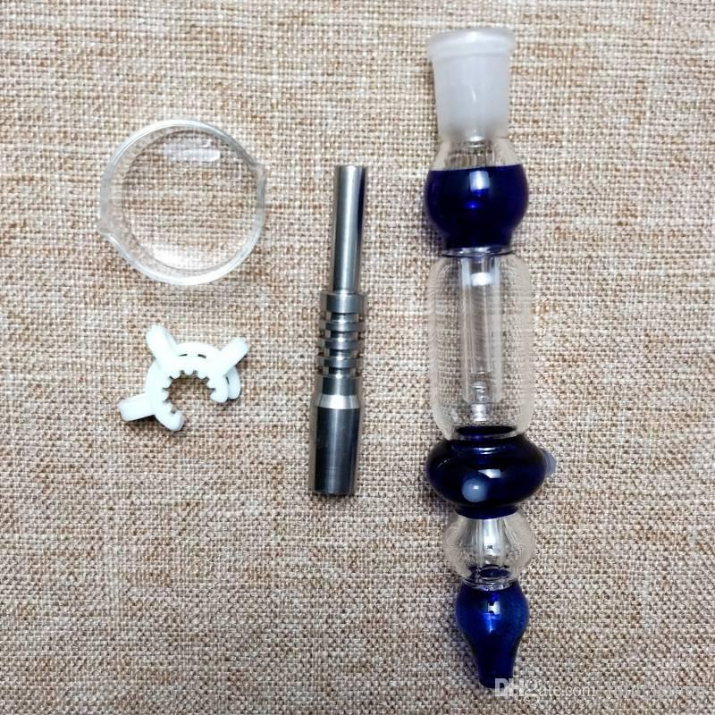 Kit raccoglitor Nector da 14 mm Mini pipe da fumo con punta in titanio Dab Oil Rigs Paglierino in vetro Dish Nector Small Bong NC10-14