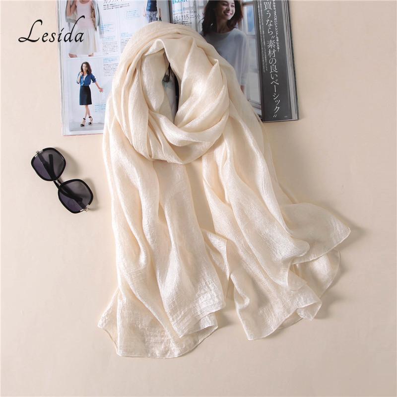 18c93a69af9 Acheter LESIDA 2018 Printemps Femmes En Soie Satin Écharpe De Luxe Marque  Solide Couleur Châles Foulards Femme Hijab Blanc Foulards 190   100 CM 3033  De ...