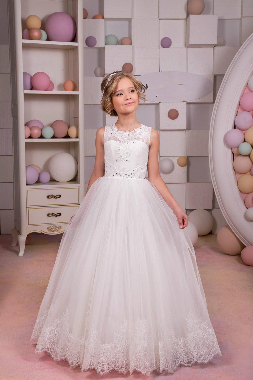 Kleid Weiß Elfenbein F5ul1k3ctj Hochzeit Großhandel Urlaub Blumenmädchen rdxoeWCB