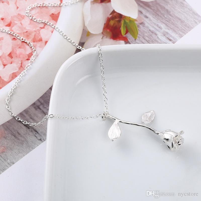 Rose Flower Pendant Necklace Charm Gold Silver Beauty Rose Jewelry Necklace with Card For Women Girls