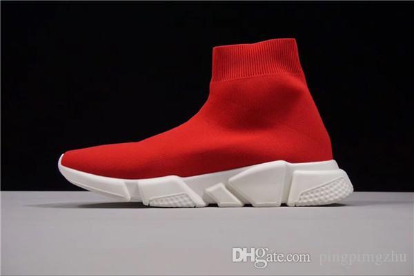 new product e65cb b8acf Acquista Vendita Calda Di Alta Qualità Originale 2018 Balenciaga Socks Donne  Uomini Calzino Scarpe Da Corsa Nero Bianco Rosso Velocità Allenatore  Sportivo ...