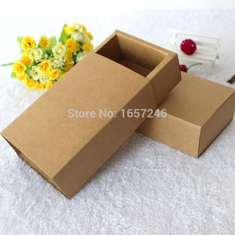Acheter 18x10x6 Kraft Emballage Cadeau Boites Vierge Papier Boite De