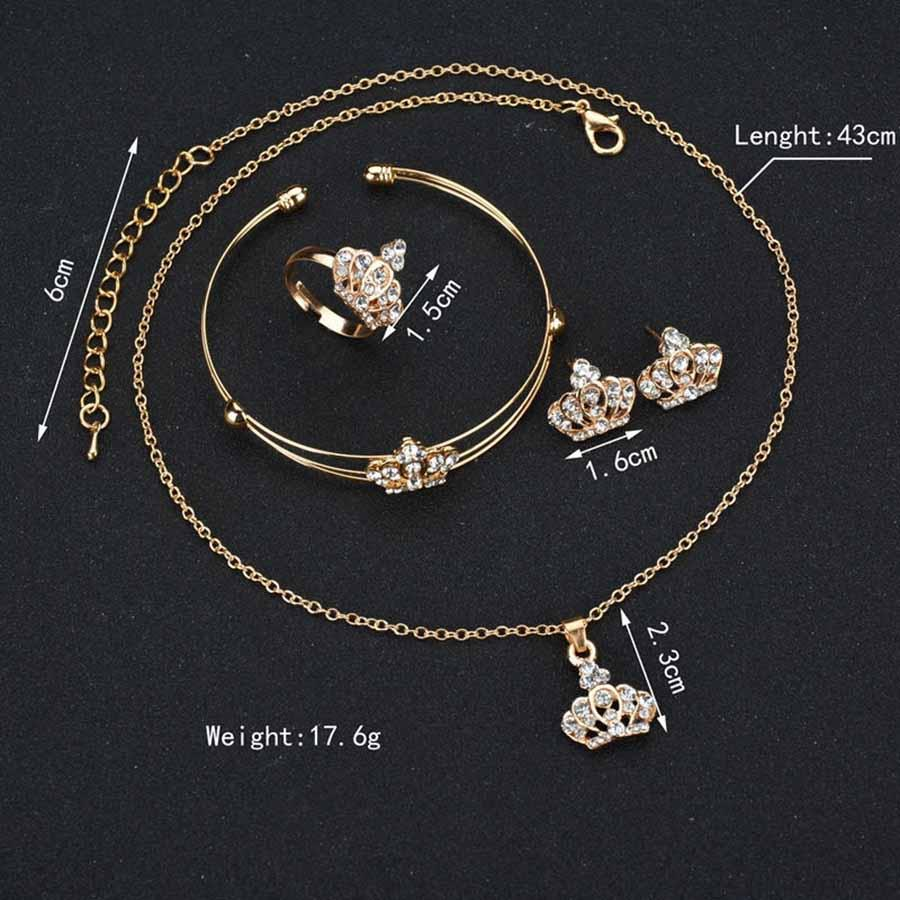 Rhinestone Alloy Jewelry Set Crown Pendant Necklace Earring Ring Bracelet Charm Gift Women Wedding Jewelry Set Accessories