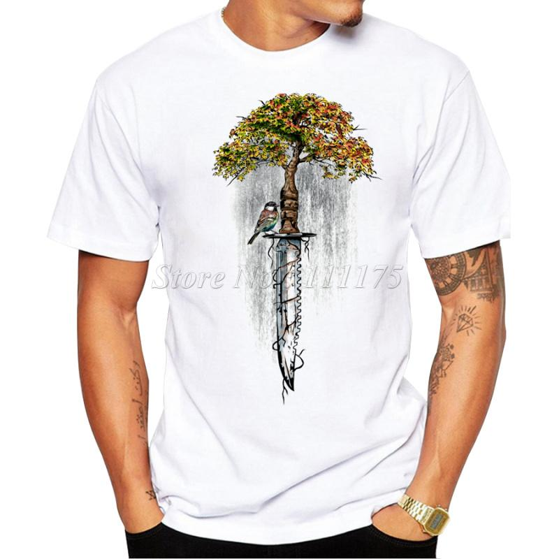53d7ca51 2018 Fashion Men's Abstract Tree and Knife Design T Shirt Male Cool Tops  Hipster Printed Summer Tees. Store-wide Discount