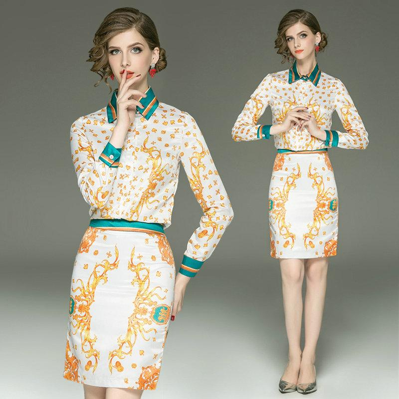 03c0e091e40 2019 Fashion Printed Shirt+Skirt Women Two Piece Set 2018 Autumn New Tops  And Skirts Set Casual Office Business Ladies Suits From Top youshanping