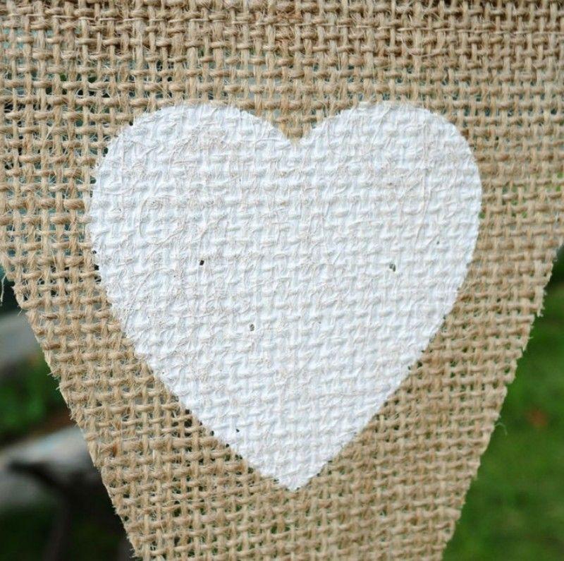 DIY Handmade Hanging Flag Jute Rope Flax Triangular String Banner Love Heart Pattern Garden Pennants For Home Wedding Decorations 6 8dl B