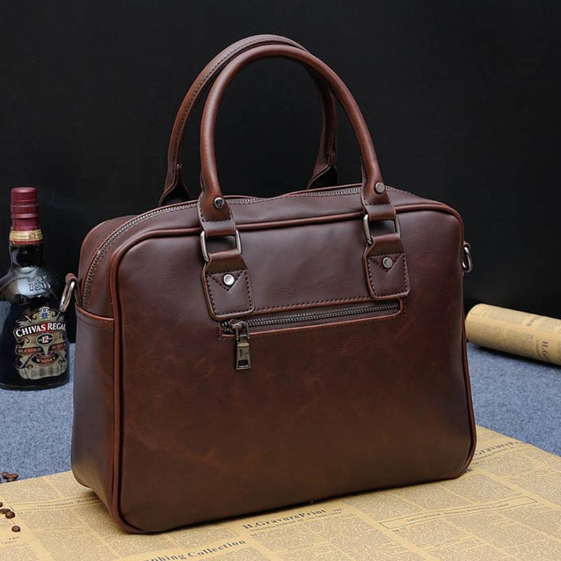 c660bb9f4b 2018 Brand Business Men Briefcase Handbags Crazy Horse PU Leather Laptop  Bag Casual Man Zipper Shoulder Bags Vintage Travel Bag Leather Briefcase  Satchel ...