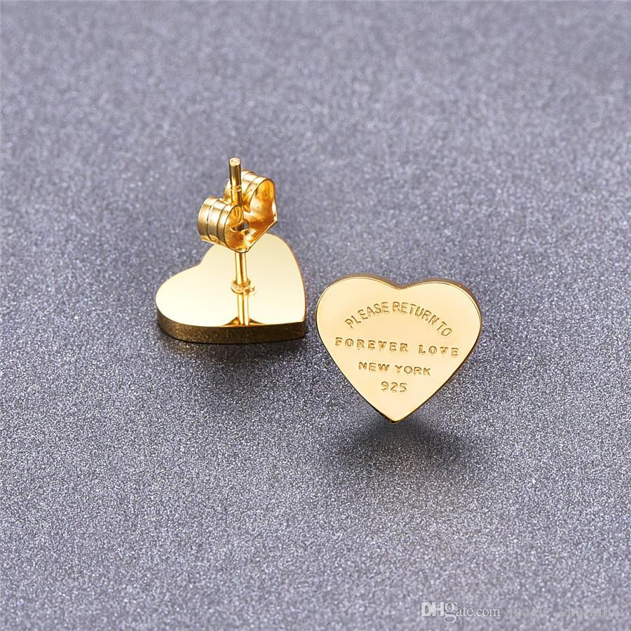 Pendientes de corazón de acero inoxidable de color dorado de alta calidad para mujeres rosa oro-color titanio corazón pertenecientes joyería fina