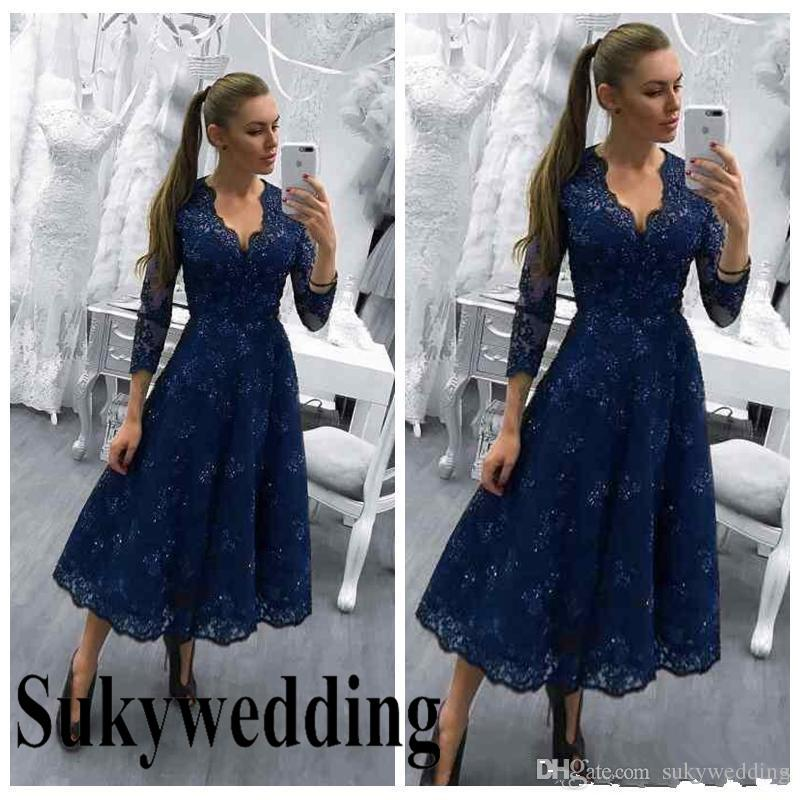 68f2494bddb Navy Blue Mother Of The Bride Dresses V Neck Long Sleeves Lace Appliques  Beaded Crystal Wedding Guest Dress A Line Evening Gowns Tea Length Gold  Mother Of ...