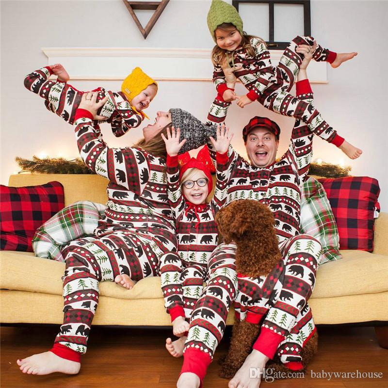 Family Matching Christmas Pajamas Mom Dad And Kids Sleepwear Family Matching  Jusmpsuits Xmas Tree Bears Printed New Year Pajamas Family Look Mother Baby  ... 0d9b83f7a