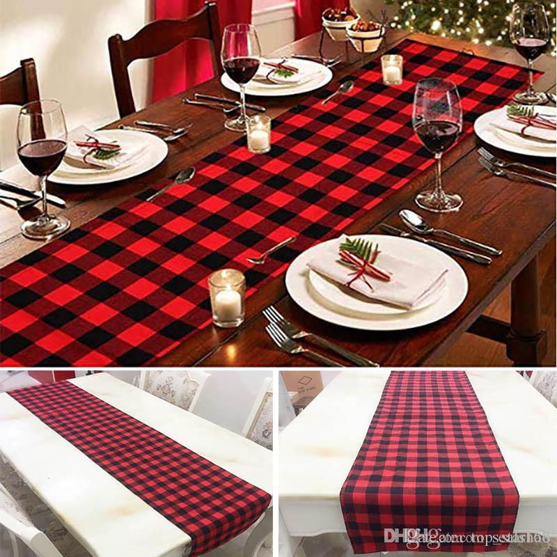 2018 plaid table runner for christmas table decoration family dinners or gatherings indoor outdoor party wedding decor 33274cm hh7 1671 from top_starhao