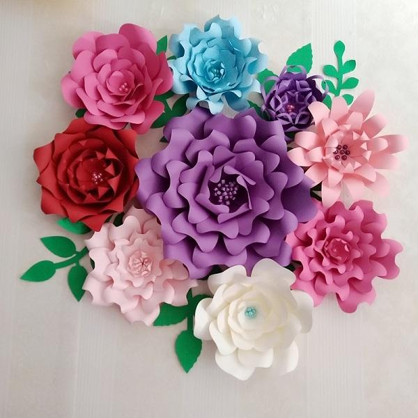 Creative Giant Paper Flowers 9pcs Leaves 8 Pcs Half Made Kits With Tutorials Wedding Backdrop Baby Nursery Retails Store Flower Diy