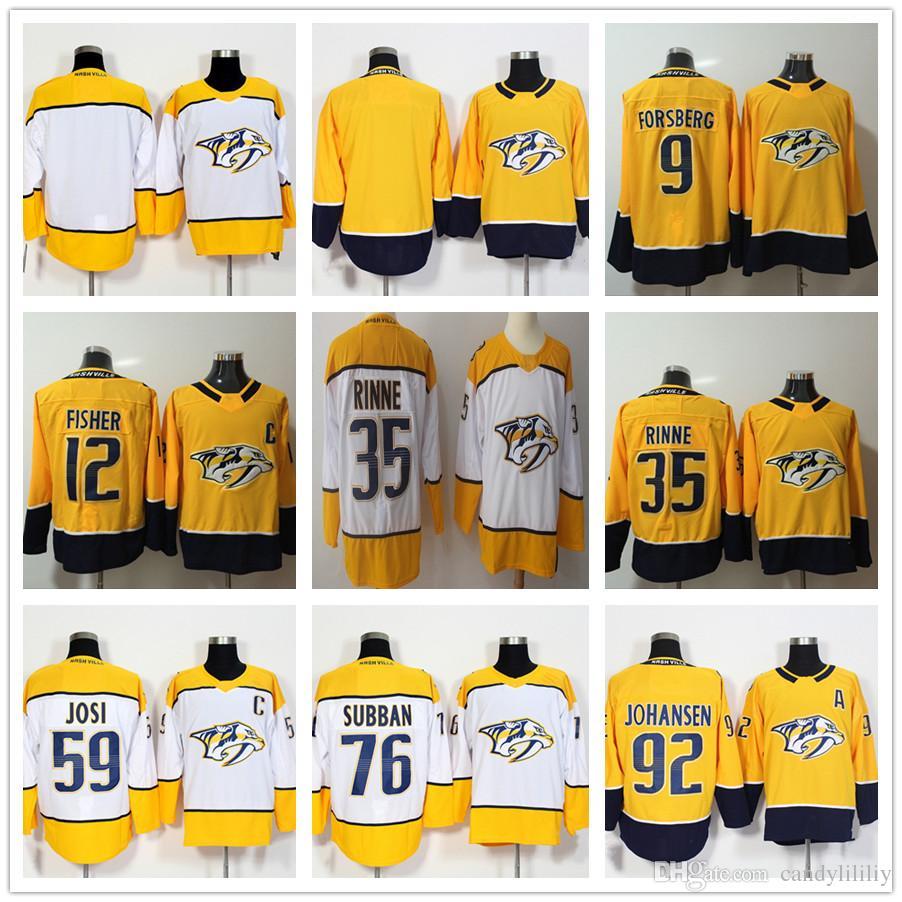 6e00382f0 Nashville Predators Hockey Jerseys 9 Filip Forsberg 12 Mike Fisher 35 Pekka Rinne  59 Roman Josi 76 PK Subban Jersey 92 Ryan Johansen Men Blank Predators ...