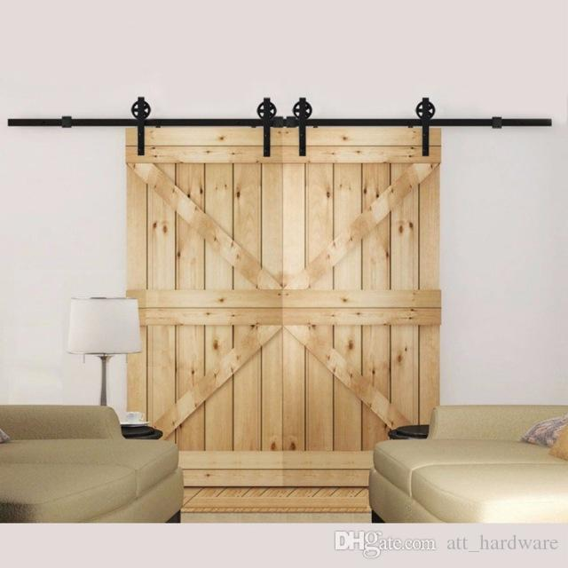 2018 Antique Double Sliding Barn Door Hardware Set Double Sliding