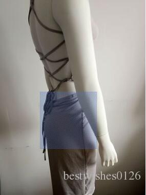 Mujeres sexy fiesta sin espalda profundo escote en V vendaje con cordones sin mangas bodycon midi club vestido