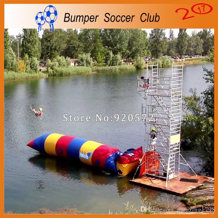 شحن مجاني 7 * 2 متر 0.9 ملليمتر pvc نفخ فقاعة الماء القفز وسادة فقاعة الماء القفز حقيبة نفخ الترامبولين