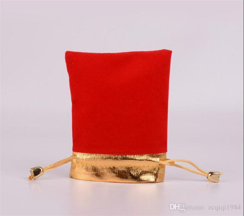 7x9 cm / 9x12 cm cordón de oro cordón de la bolsa de terciopelo de la boda regalo de cumpleaños de la Navidad bolsas de embalaje de la joyería negro / rojo