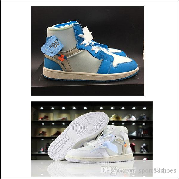 b311f574de47 2018 New Quality 1 White Dark Powder Blue Cone UNC Basketball Shoes ...