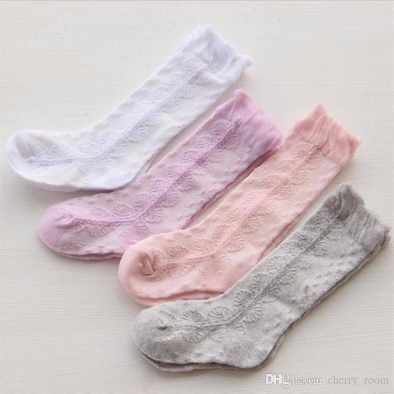 05b1a0130f9 Summer Grils Socks 2018 New Children Gauze Bows Princess Sock Children  Hollow Knee High Socks Kids Cotton Knitting Leg Warmers A9809 Kids Girls Knee  High ...