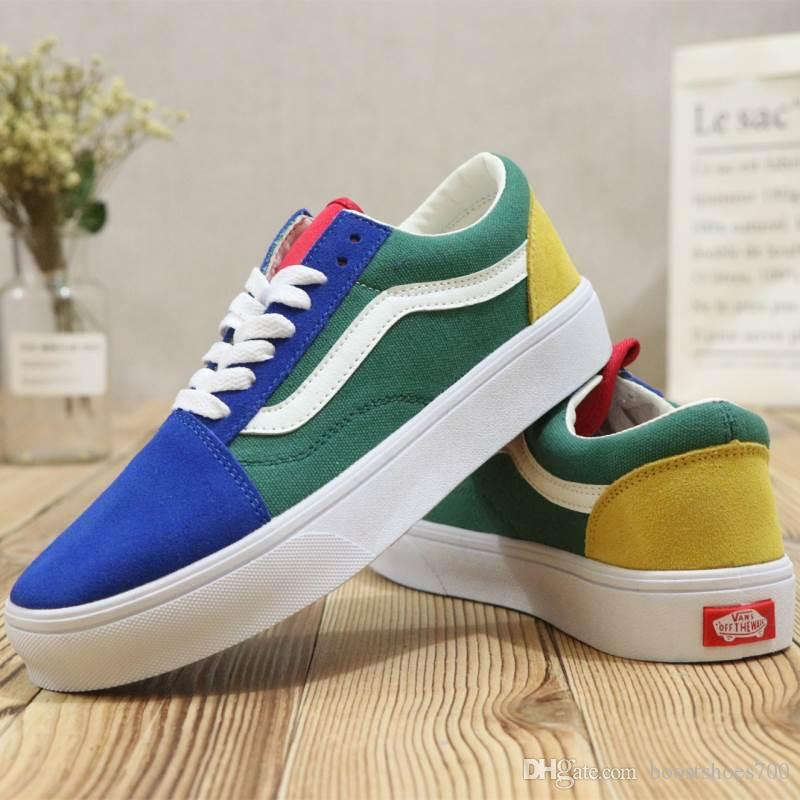 a259fcad7eb ... Vans Old Skool Skate Shoes Classic Colorful Mens Sneakers Skateboarding  Men And Women Blue Green Yellow ...