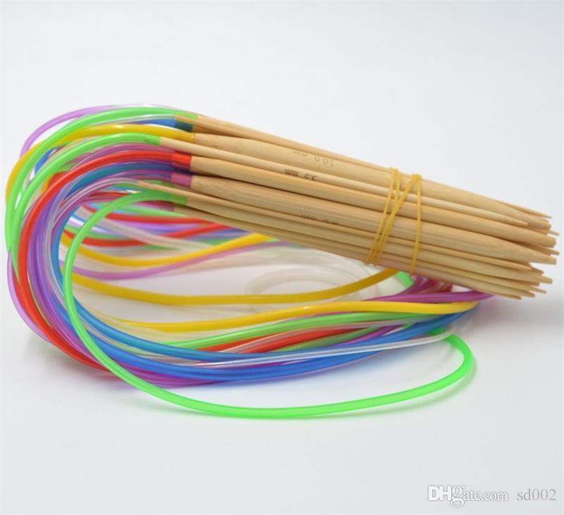 80cm Tube Circular Carbonized Bamboo Knitting Needles Crafts Yarn Tool Set Multi Color 8 5js C R