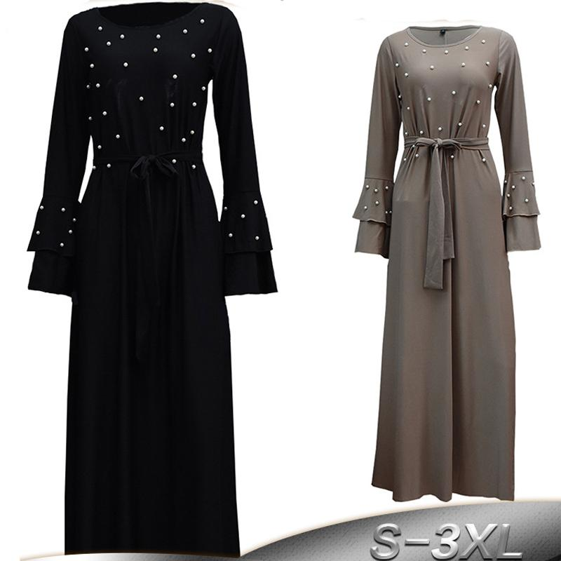24006baa1710 2019 Arab Vestidos 2018 Long Sleeve UAE Abaya Dubai Muslim Kaftan Turkey  Women Beading Maxi Hijab Dress Turkish Islamic Clothing From Cravat, ...