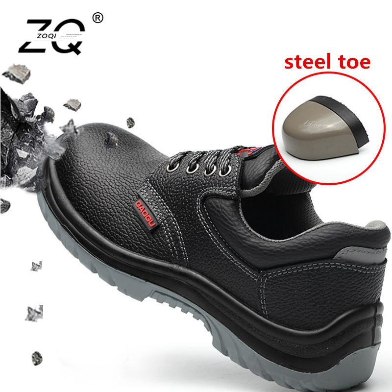 Zoqi Steel Toe Work Shoes Men Sneakers Unisex Leather Safety Shoes