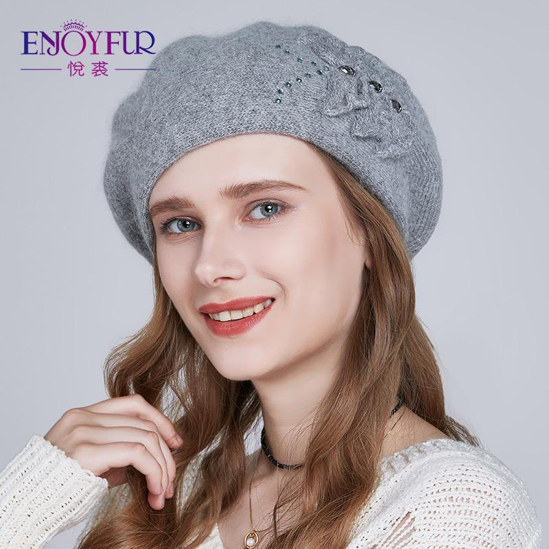 2a3bb61a299 2019 ENJOYFUR Cashmere Beret Hat Female Rabbit Knitted Winter Hats  Patchwork Flower Caps Fashion Rhinestones Thick Gorros From Kuchairly