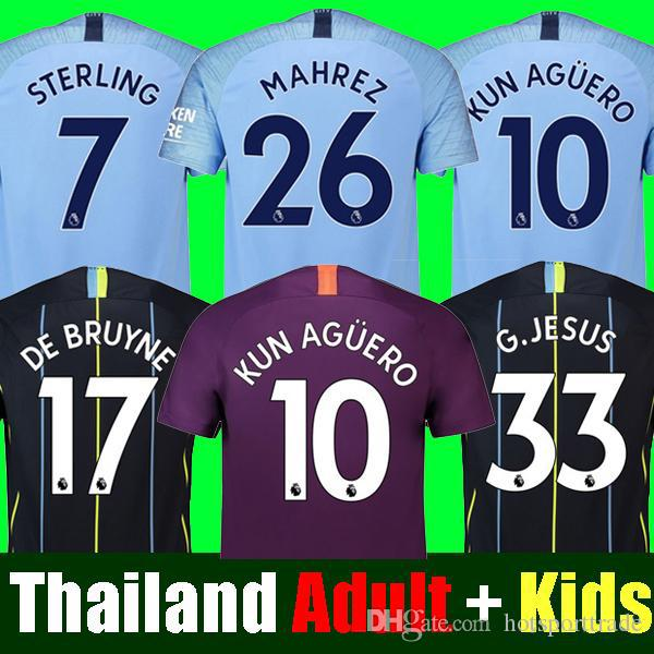 quality design 938fc dfc9c Thailand MAHREZ JESUS DE BRUYNE MANCHESTER soccer jerseys 2019 SANE jersey  18 19 football KIT Top city shirt adult and kids set uniform