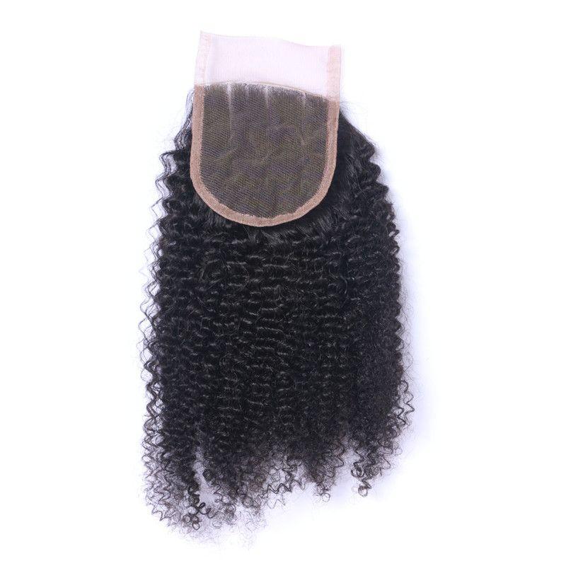 Afro Kinky Curly Virgin Brazilian Human Hair Weaves 3 Bundles with Lace Top Closure 4x4 Kinky Curly Brazilian Human Hair 3 Bundle Deals