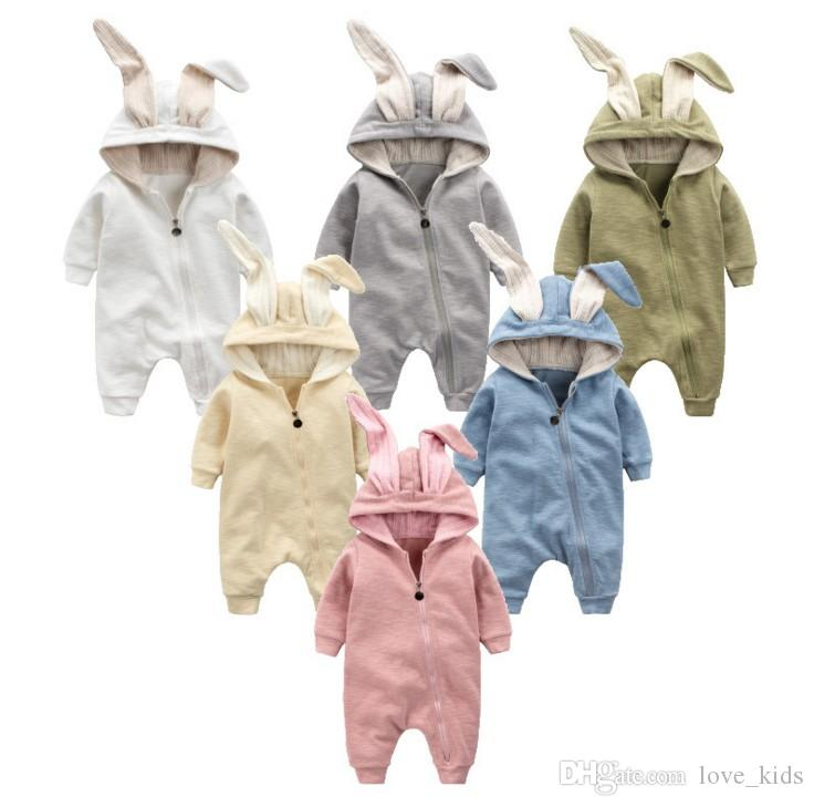 Newborn Boys Girls Baby Rompers Rabbit Ears Newborn Onesies Clothing Zipper Hooded Toddler Romper Infant Bodysuit Boutique Jumpsuits Clothes