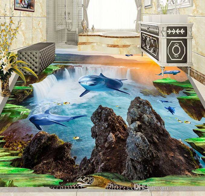 Papel pintado 3D para pisos Personalizado Sea Dolphin sala de estar Papel pintado 3D para paredes de dormitorio pared papeles decoración para el hogar 3d