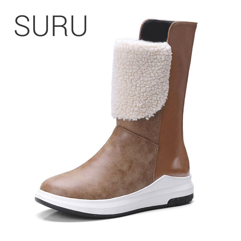 ce847ae7ae3 SURU Ladies Winter Boots Women Calf-length Plush Snow Boots With Flats Plus  Size 32-43