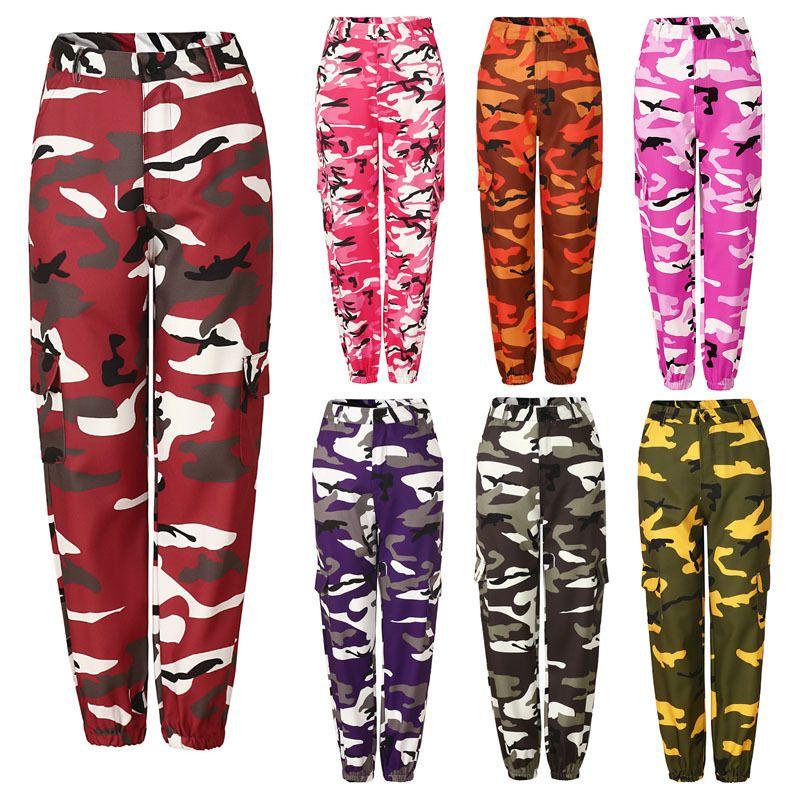 Compre Otoño Invierno Moda Mujeres Pantalones De Camuflaje Cintura Alta  Hiphop Rosa Camo Pantalones Con Bolsillos Chicas Cargo Militar Pantalones  De Jogging ... e4a4c4f5b2ad