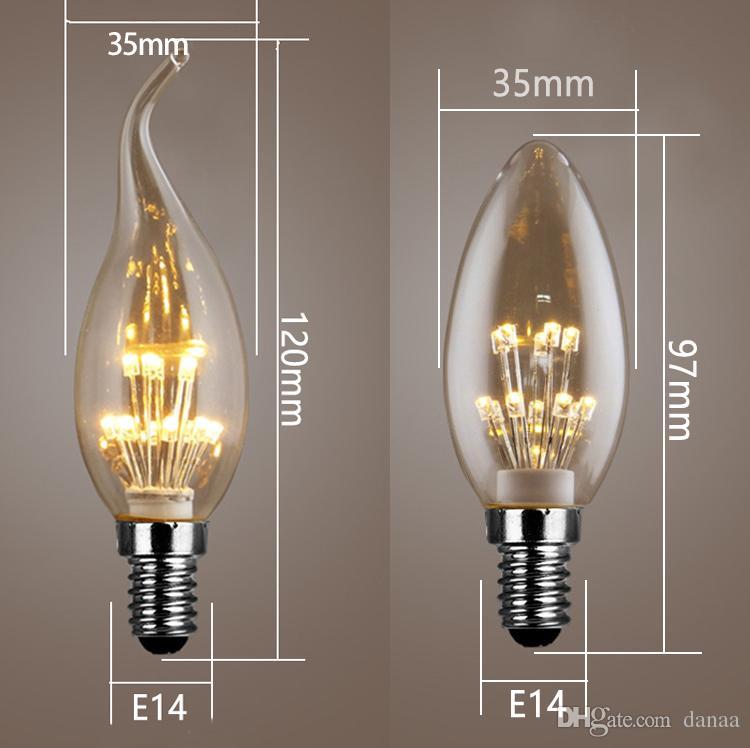 WOXIU bombilla de filamento led e14 bombilla de vela de tornillo pequeño 3W lámpara de araña de burbujas lámpara de filamento led fuente de luz trasera