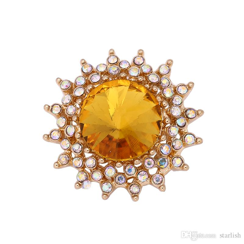 Fashion Cheap Snap Button 18mm Yellow Crystal Flower DIY Necklace Bracelet Accessory