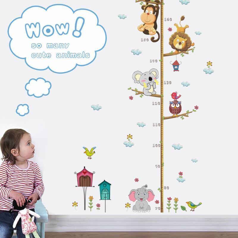 Jungle Animals Lion Monkey Owl Height Measure Wall Sticker For Kids