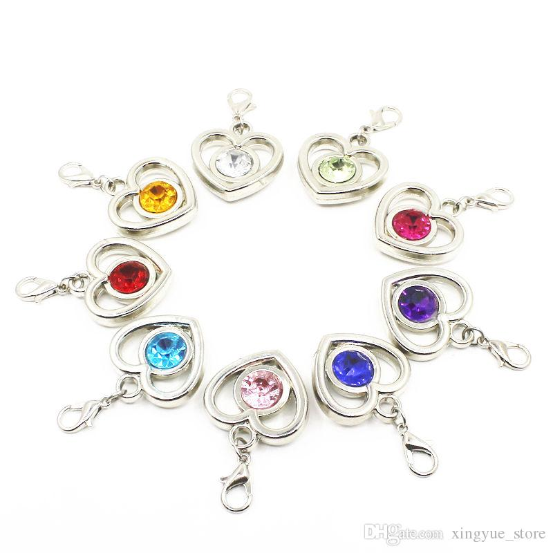 50pcs/lot Mix random color crystal heart dangle charms Lobster clasp Charms CCB hanging charms for bracelet necklace diy jewelry