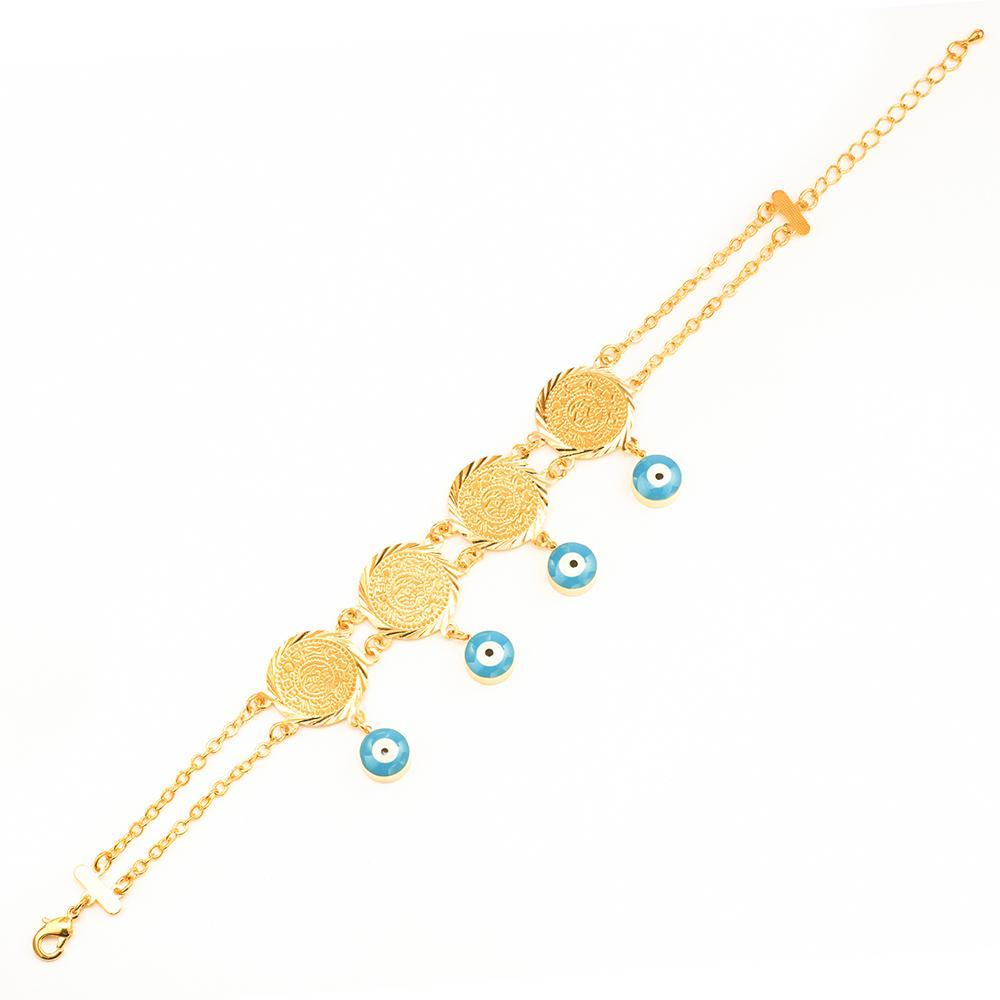 Ethlyn Evil eye pièces bracelet bijoux couleur Or Islam Femmes Pièce Bracelet Musulman Arabe Moyen Orient bijoux de mariage B019