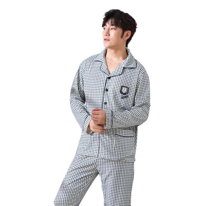 040bdffc64a61 Satın Al 2018 Sonbahar Adam Pijama Takımı Pamuk Basit Hırka Yaka Düğmeleri  Pijama Yüksek Kaliteli Erkek Pijama Takım Ev Giyim Uyku Aşınma, $50.16 |  DHgate.