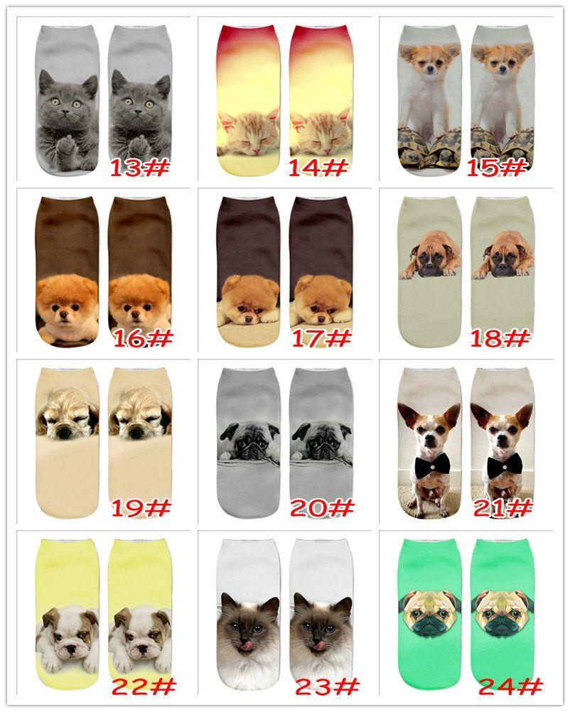 24 Estilos Meninas 3D Impresso Coruja Gato Cão Urso Animal Imprimir Meias Moda Novidade Baixo Corte Tornozelo Meias Algodão Adolescente Peúgas Meias