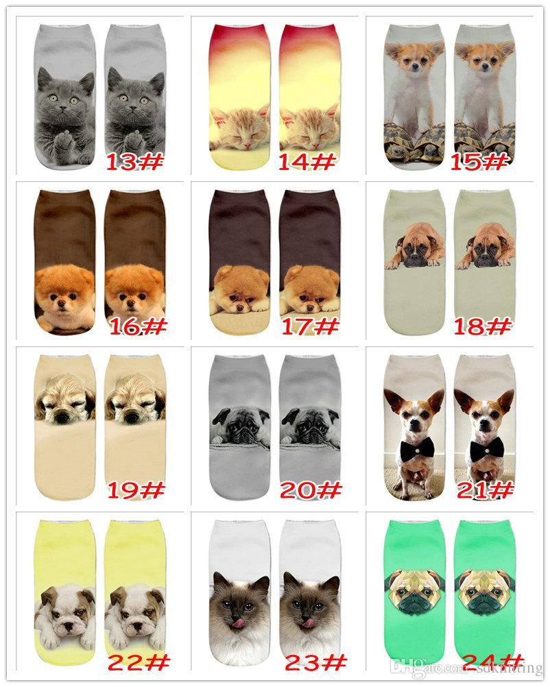 24 Styles Girls 3D Printed Owl Cat Dog Bear Animal Print Socks Fashion Novelty Low Cut Ankle Socks Cotton Teenager Cartoon Socks