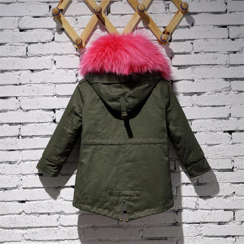 2017 Children Army Green Coat Kids Real Natural Rabbit Fur Clothing Winter Rabbit Long Parkas Hooded Coat Grils Warm Jacket C#22