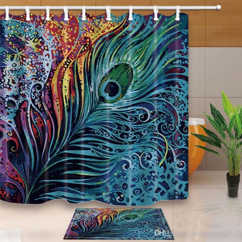 공작 샤워 커튼 디지털 인쇄 방수 패브릭 홈 제품 욕실 커튼 홈 욕실 커튼 12 후크