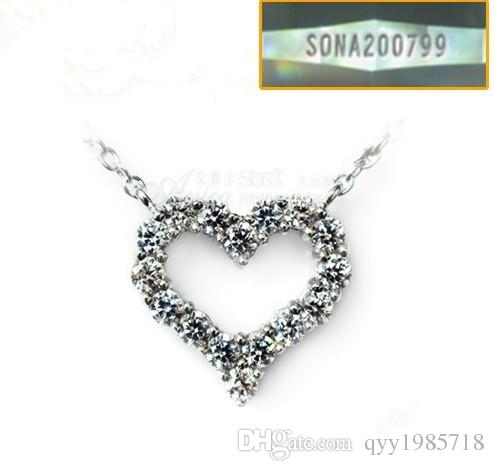 Romantic 0.5Ct Heart Pendant Sterling Silver White Gold Color Brand Diamonds Engagement Pendant Sweater Pendant Nice Jewelry 925 Necklace