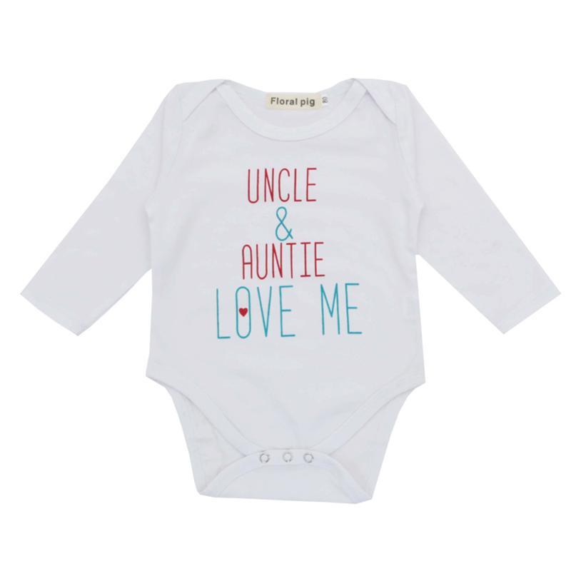 ba195264dc294 Baby Girl Boy Clothes 2018 Newborn Bodysuit Jumpsuit Tiny Cottons Autumn  Uncle Auntie Love Me White Long Sleeve Baby Bodysuits