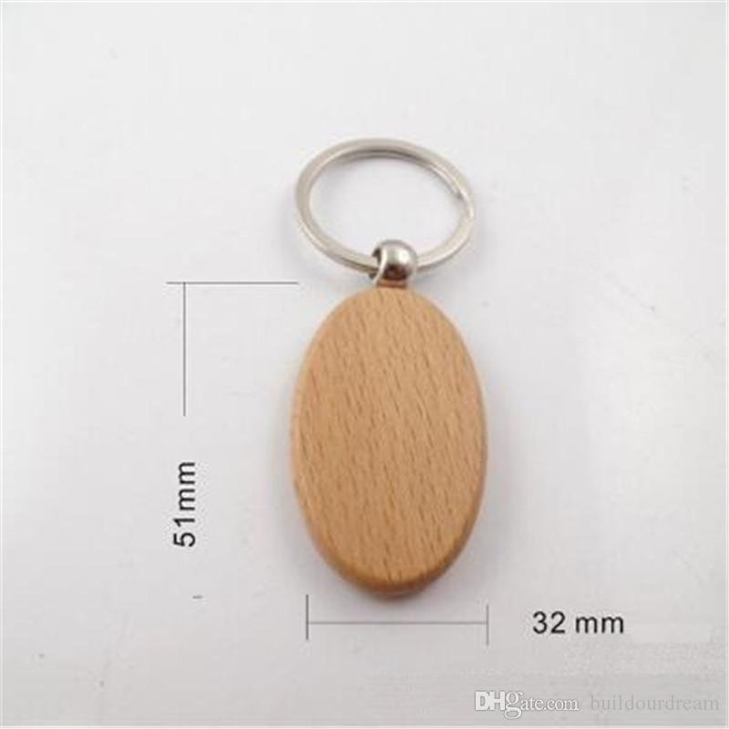Simples Estilo De Madeira Chaveiro Chave Anéis de Madeira DIY Rodada Praça Oval Retângulo Coração Forma Pingente de Chave Chaveiros Artesanais Presente