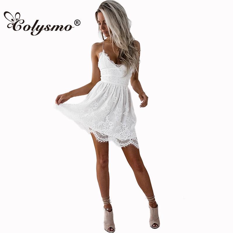 e6ad91e73 2019 Colysmo V Neck Tie Back Lace Dress Sexy Summer Dress White ...