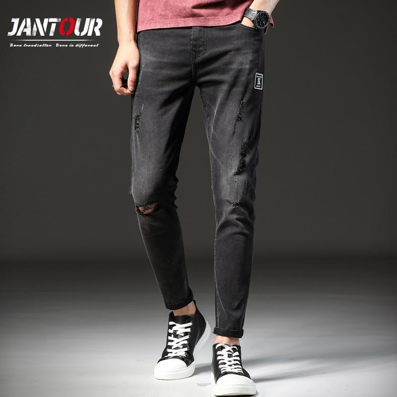 96508e91b jantour jeans flacos hombres 2018 nuevos primavera verano slim Jeans  hombres negro retro lavado viejo diseñador de la marca pantalones de moda  hombre