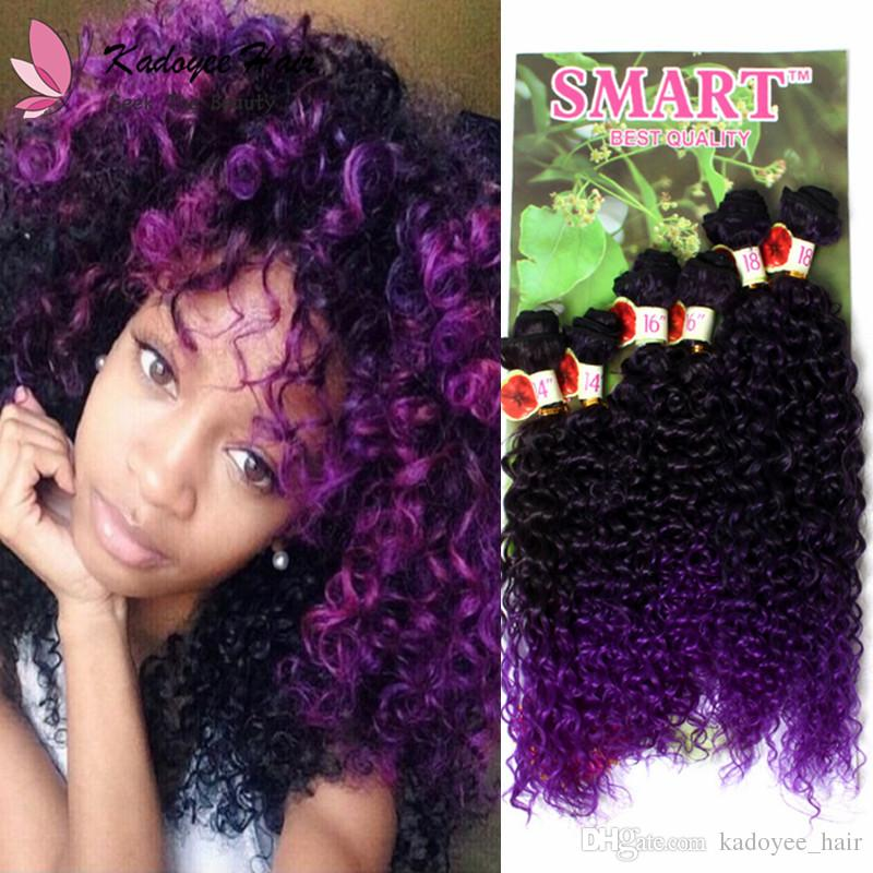 Smart 6pcs Pack marley twist Synthetic hair weaving bundles ombre jerry curly human hair extension High temperature fiber uk us